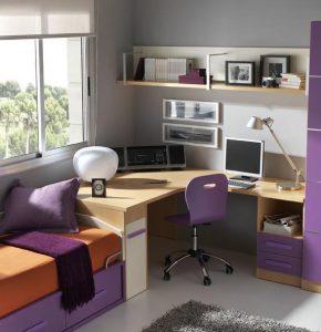 La zona de estudio en el dormitorio juvenil muebles orts - Iluminacion habitacion juvenil ...
