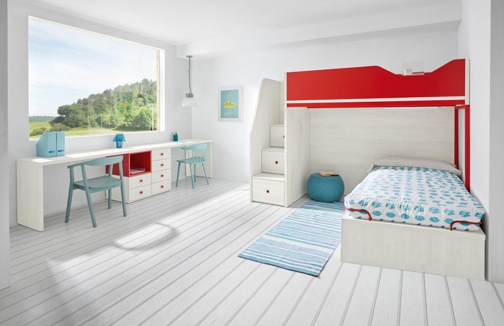 Habitación compartida con escritorio doble Colección Sonríe composición 42