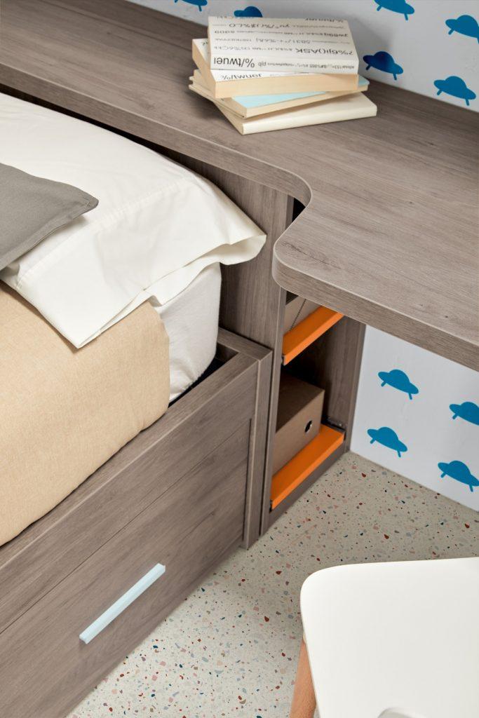 Detalle de la cama nido de la composición 03