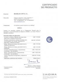 Certificado de calidad catálogo Base.2 dormitorio juvenil