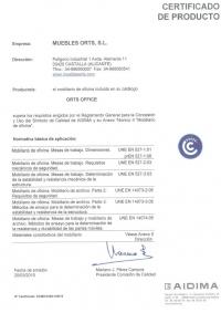 Certificado de calidad catálogo Orts Office mobiliario de oficina
