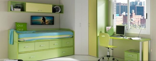 Dormitorio juvenil verde de Muebles Orts